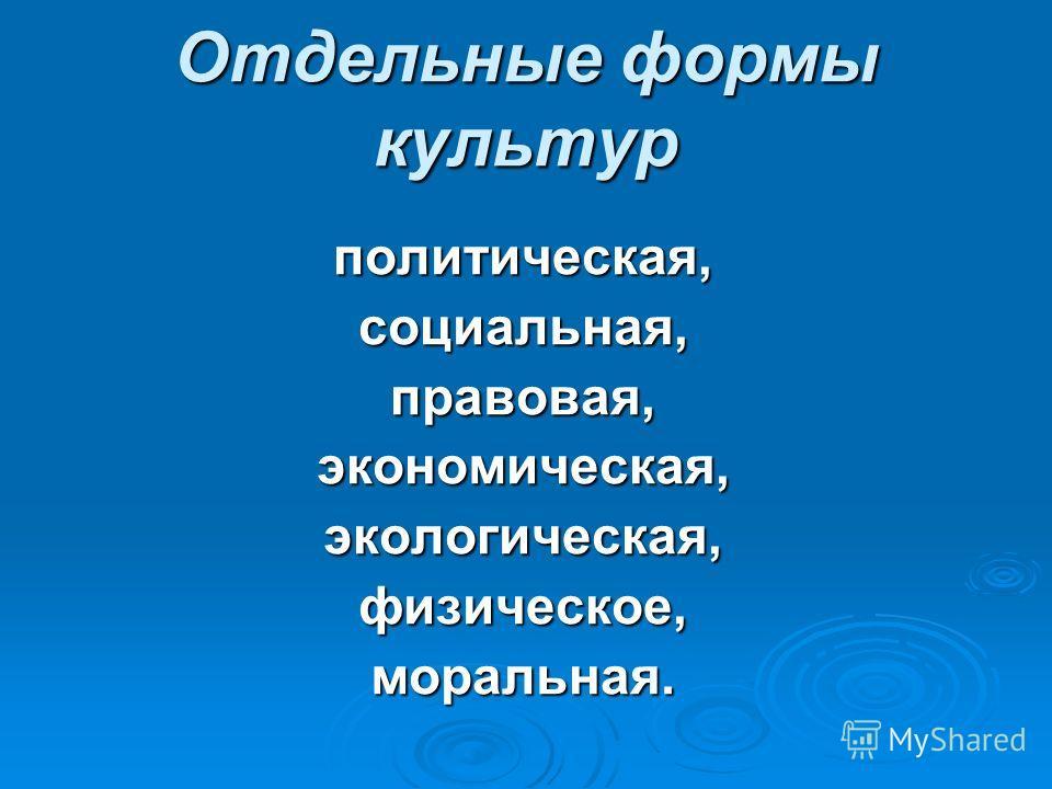 Отдельные формы культур политическая,социальная,правовая,экономическая,экологическая,физическое,моральная.