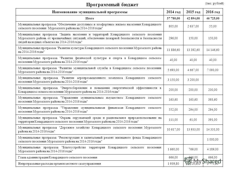 Программный бюджет (тыс. рублей) Наименование муниципальной программы 2014 год 2015 год 2016 год Итого 37 780,0042 894,0046 725,00 Муниципальная программа