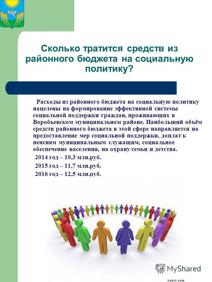 Сколько тратится средств из районного бюджета на социальную политику? Расходы из районного бюджета на социальную политику нацелены на формирование эффективной системы социальной поддержки граждан, проживающих в Воробьевском муниципальном районе. Наиб
