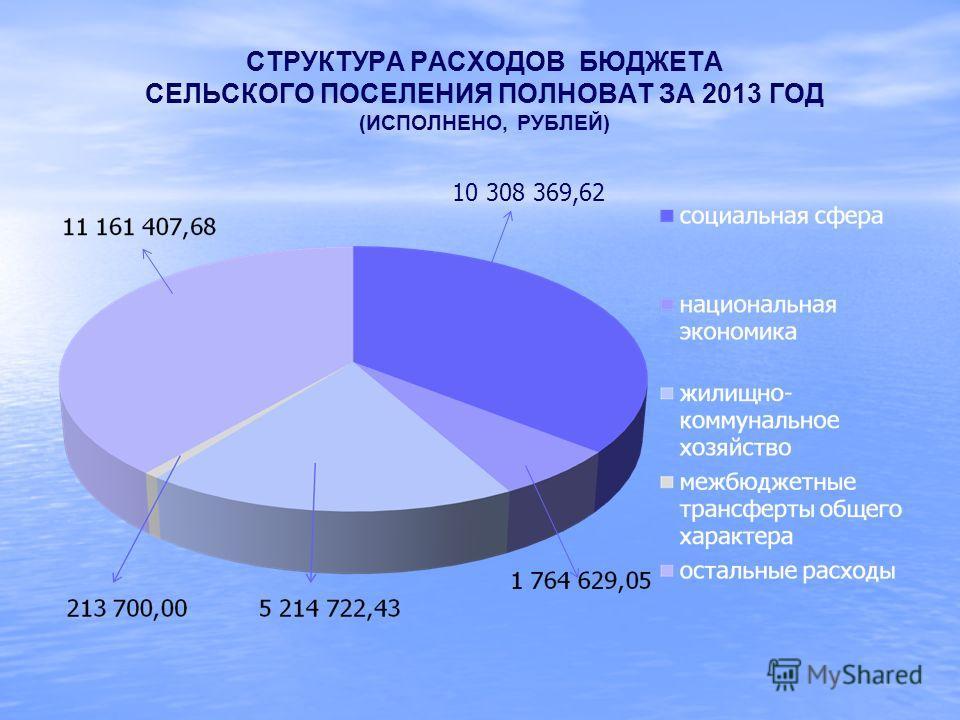 СТРУКТУРА РАСХОДОВ БЮДЖЕТА СЕЛЬСКОГО ПОСЕЛЕНИЯ ПОЛНОВАТ ЗА 2013 ГОД (ИСПОЛНЕНО, РУБЛЕЙ) 10 308 369,62