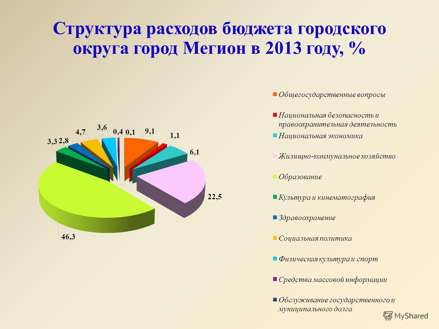 Структура расходов бюджета городского округа город Мегион в 2013 году, %