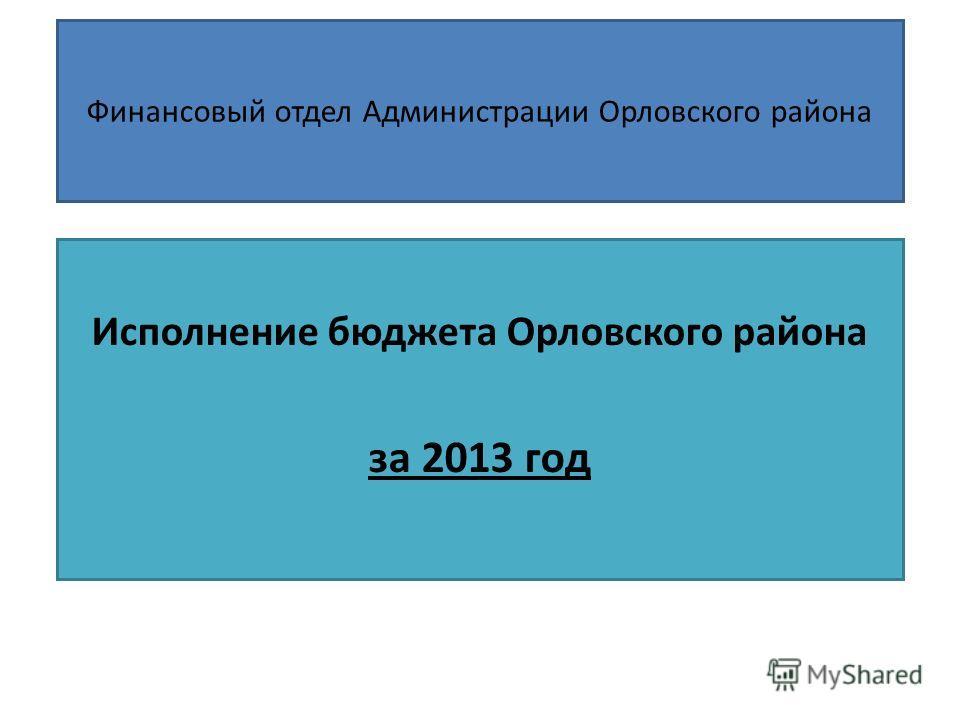 Финансовый отдел Администрации Орловского района Исполнение бюджета Орловского района за 2013 год