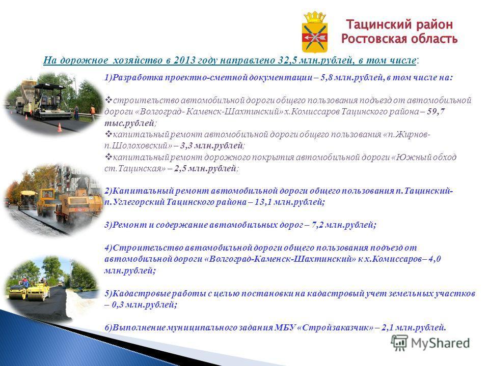 На дорожное хозяйство в 2013 году направлено 32,5 млн.рублей, в том числе : 1)Разработка проектно-сметной документации – 5,8 млн.рублей, в том числе на: строительство автомобильной дороги общего пользования подъезд от автомобильной дороги «Волгоград-