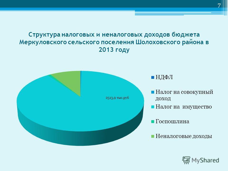 Структура налоговых и неналоговых доходов бюджета Меркуловского сельского поселения Шолоховского района в 2013 году 7