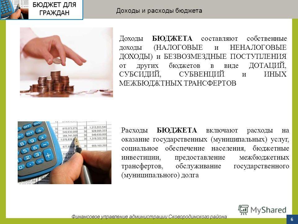 6 Доходы и расходы бюджета Финансовое управление администрации Сковородинского района Доходы БЮДЖЕТА составляют собственные доходы (НАЛОГОВЫЕ и НЕНАЛОГОВЫЕ ДОХОДЫ) и БЕЗВОЗМЕЗДНЫЕ ПОСТУПЛЕНИЯ от других бюджетов в виде ДОТАЦИЙ, СУБСИДИЙ, СУБВЕНЦИЙ и И