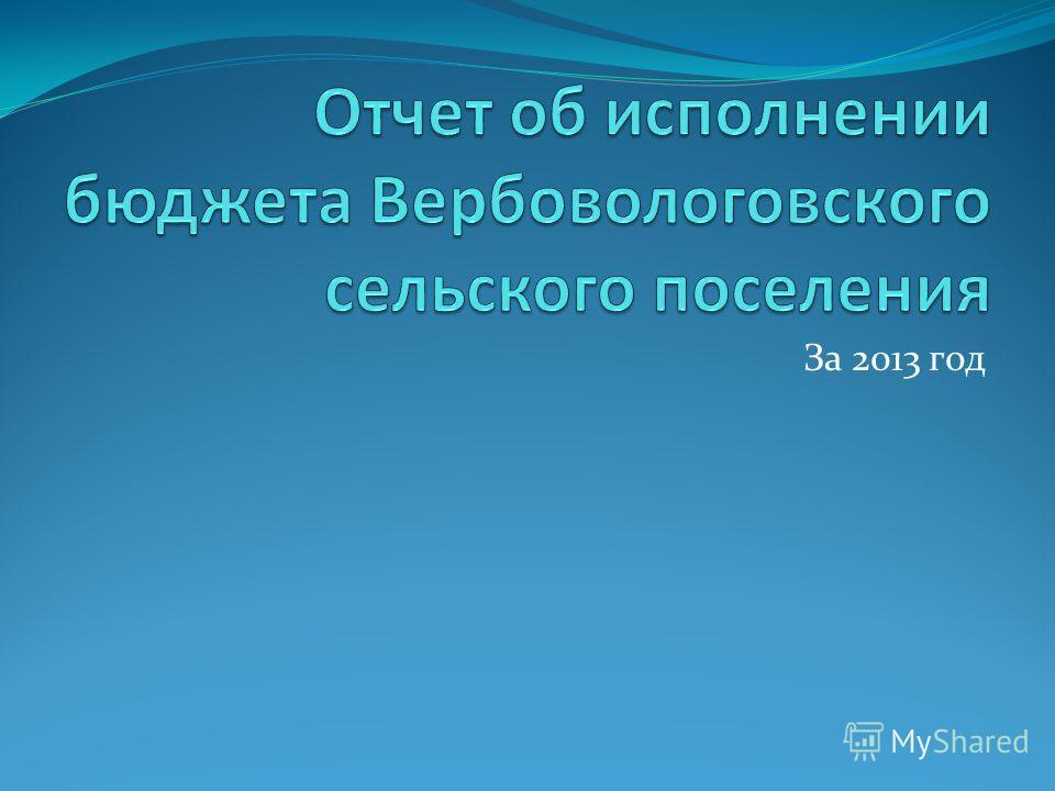 За 2013 год