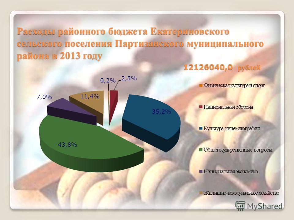 Расходы районного бюджета Екатериновского сельского поселения Партизанского муниципального района в 2013 году 12126040,0 рублей