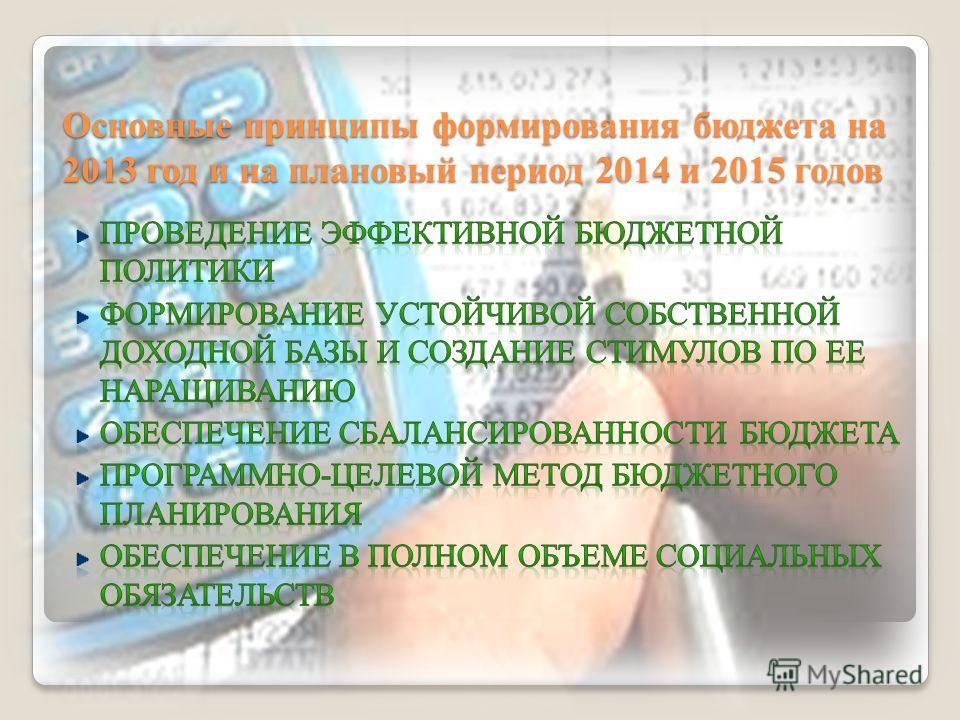 Основные принципы формирования бюджета на 2013 год и на плановый период 2014 и 2015 годов