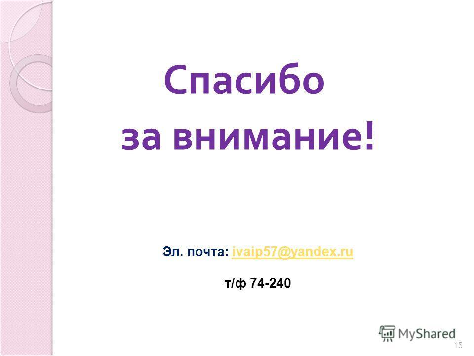 Спасибо за внимание ! 15 Эл. почта: ivaip57@yandex.ruivaip57@yandex.ru т/ф 74-240