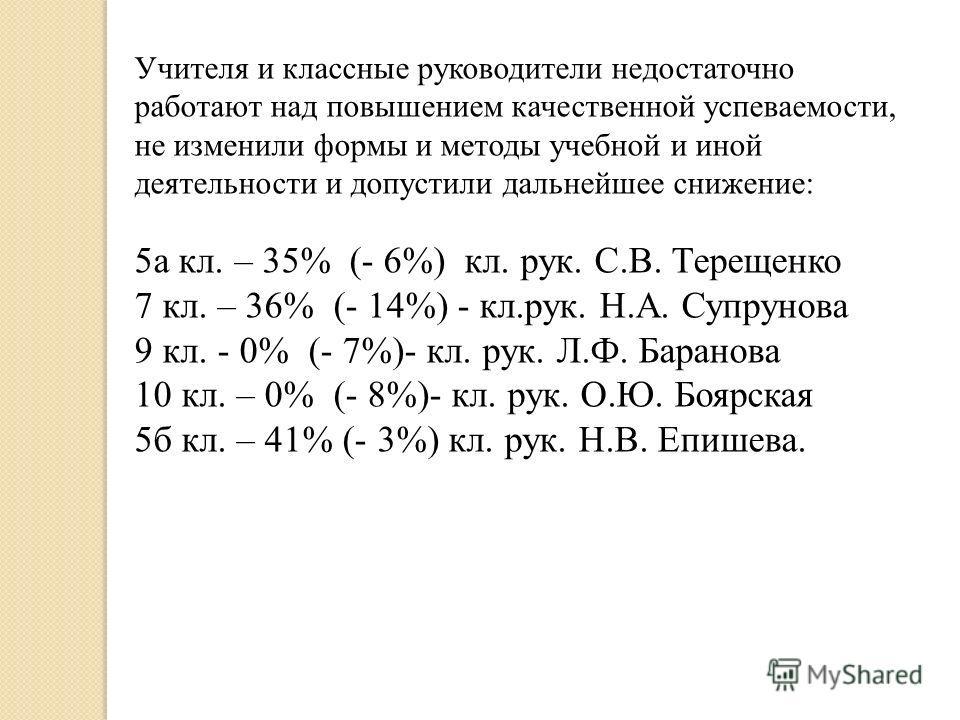 Учителя и классные руководители недостаточно работают над повышением качественной успеваемости, не изменили формы и методы учебной и иной деятельности и допустили дальнейшее снижение: 5 а кл. – 35% (- 6%) кл. рук. С.В. Терещенко 7 кл. – 36% (- 14%) -