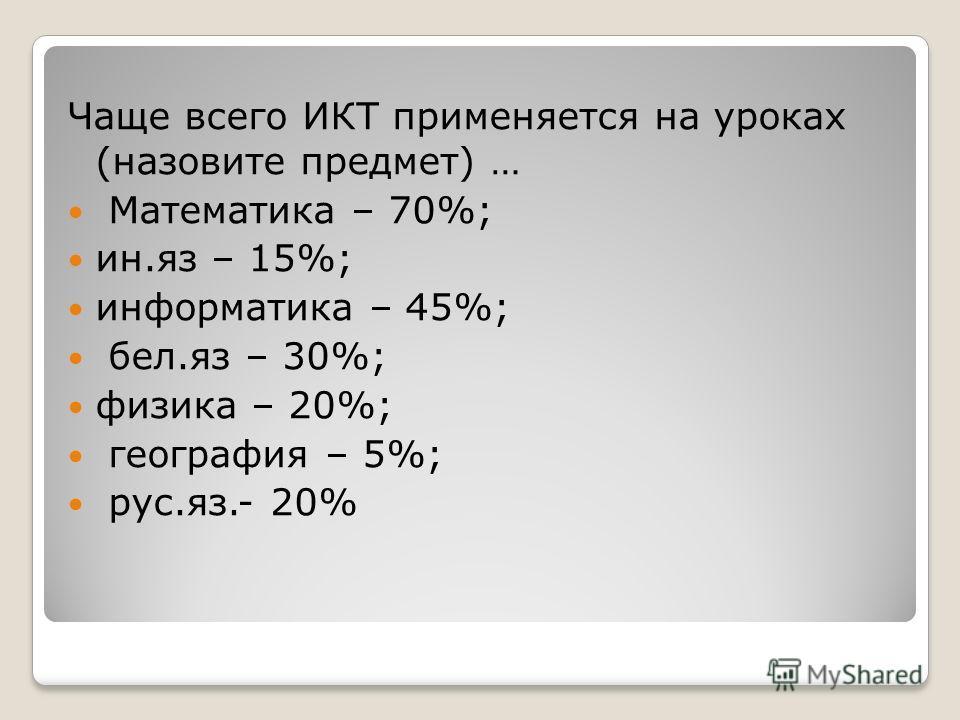 Чаще всего ИКТ применяется на уроках (назовите предмет) … Математика – 70%; ин.яз – 15%; информатика – 45%; бел.яз – 30%; физика – 20%; география – 5%; рус.яз.- 20%
