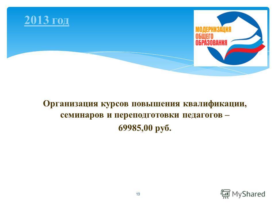 19 Организация курсов повышения квалификации, семинаров и переподготовки педагогов – 69985,00 руб. 2013 год