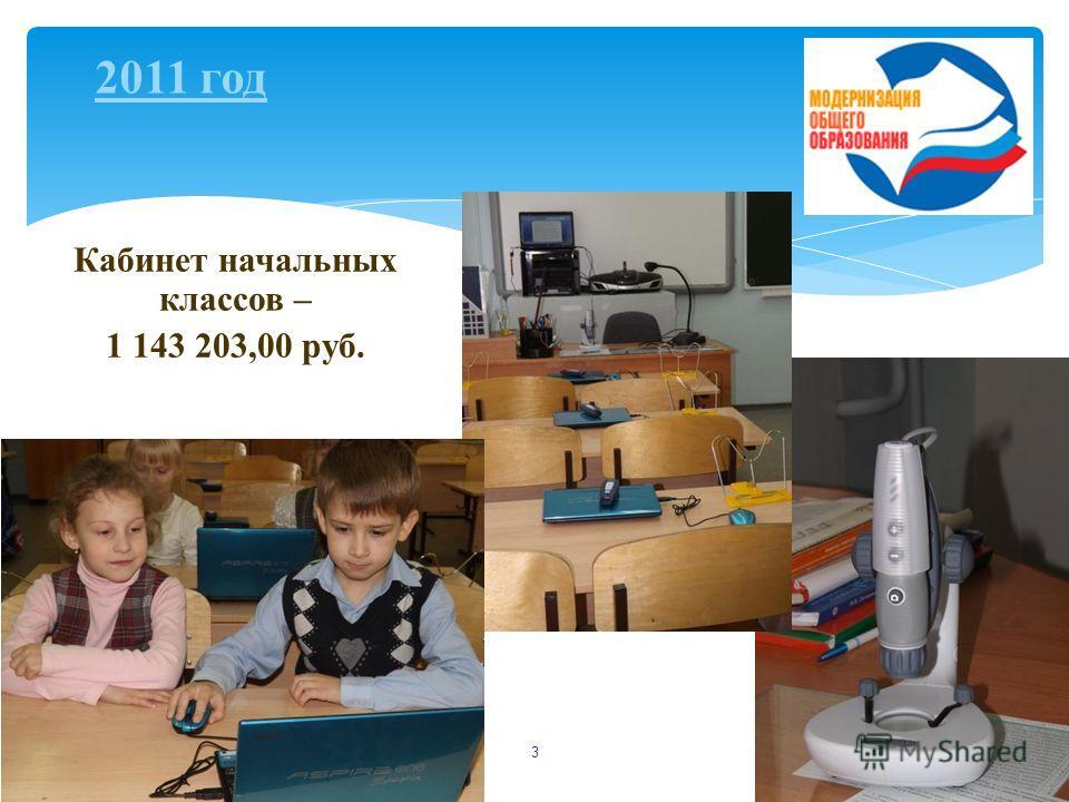 3 Кабинет начальных классов – 1 143 203,00 руб. 2011 год