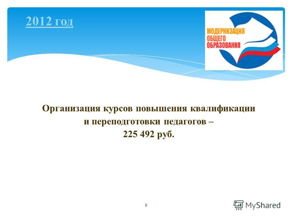 8 Организация курсов повышения квалификации и переподготовки педагогов – 225 492 руб. 2012 год
