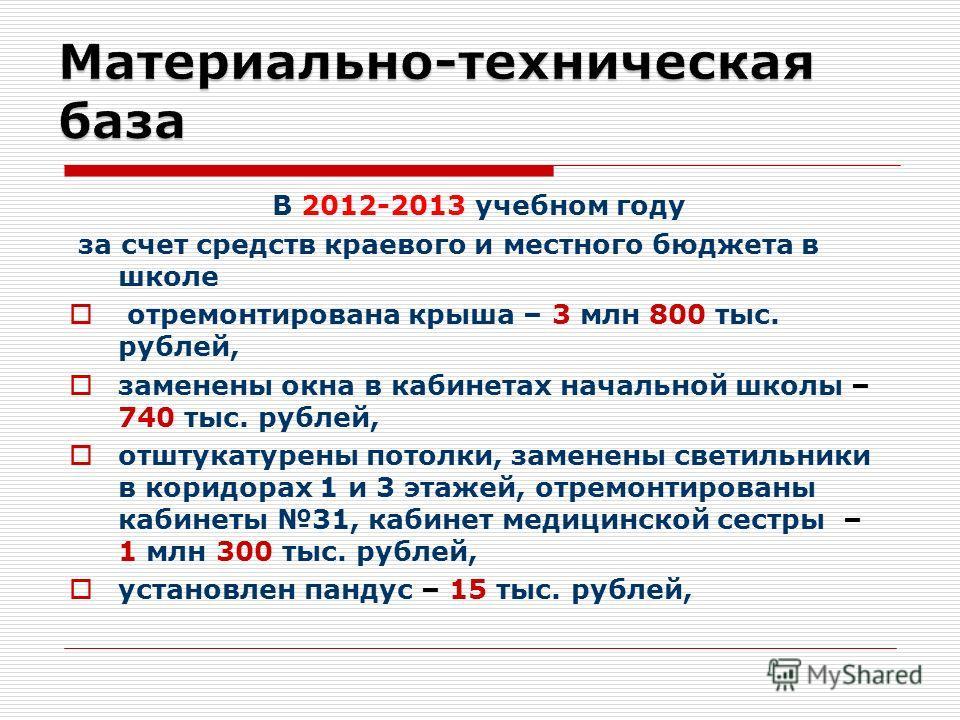 В 2012-2013 учебном году за счет средств краевого и местного бюджета в школе отремонтирована крыша – 3 млн 800 тыс. рублей, заменены окна в кабинетах начальной школы – 740 тыс. рублей, отштукатурены потолки, заменены светильники в коридорах 1 и 3 эта