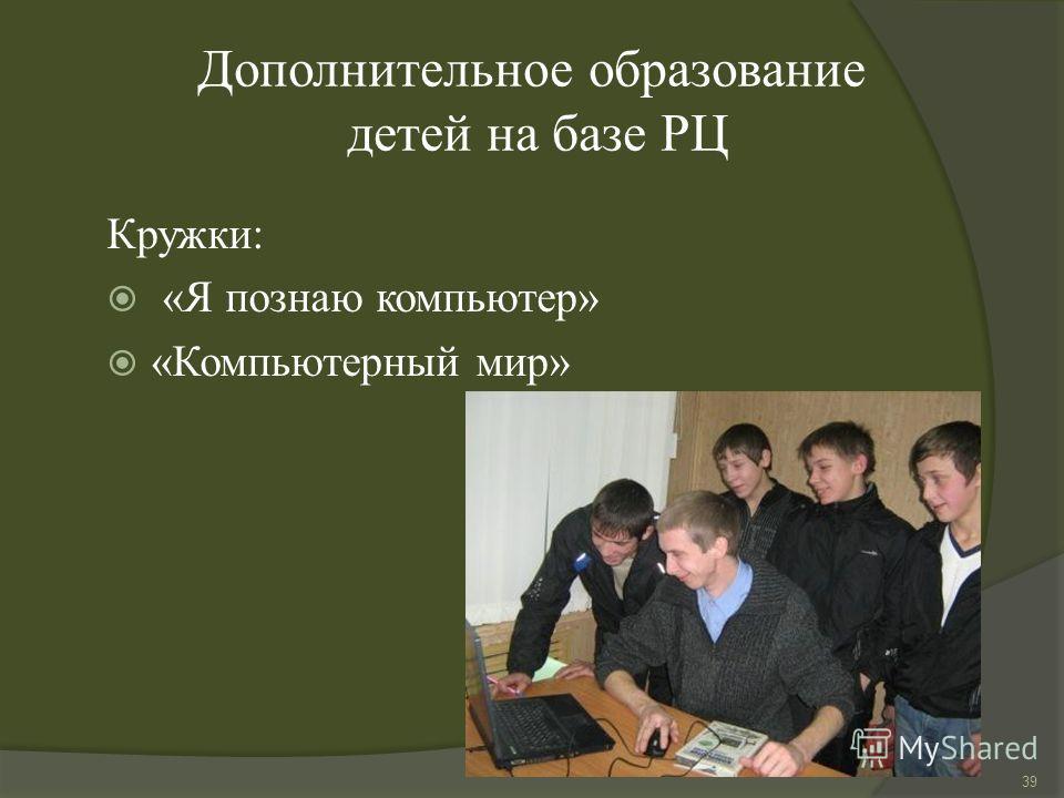 Дополнительное образование детей на базе РЦ Кружки: «Я познаю компьютер» «Компьютерный мир» 39