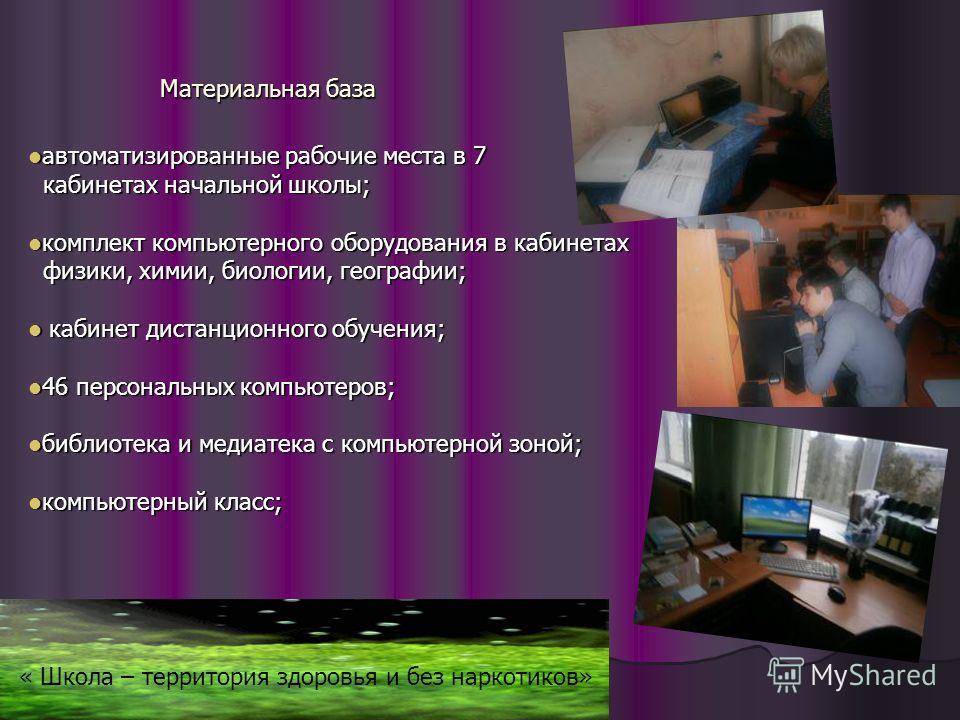 Материальная база автоматизированные рабочие места в 7 автоматизированные рабочие места в 7 кабинетах начальной школы; кабинетах начальной школы; комплект компьютерного оборудования в кабинетах комплект компьютерного оборудования в кабинетах физики,