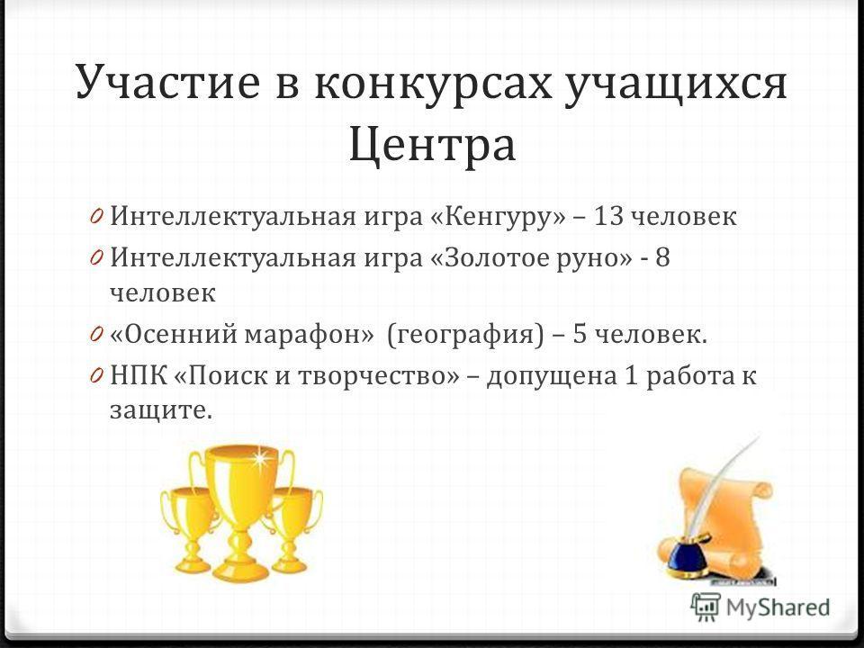 Участие в конкурсах учащихся Центра 0 Интеллектуальная игра «Кенгуру» – 13 человек 0 Интеллектуальная игра «Золотое руно» - 8 человек 0 «Осенний марафон» (география) – 5 человек. 0 НПК «Поиск и творчество» – допущена 1 работа к защите.