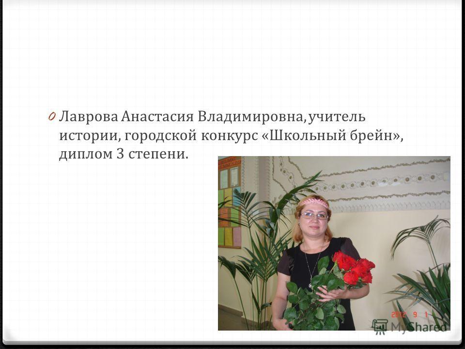 0 Лаврова Анастасия Владимировна, учитель истории, городской конкурс «Школьный брейн», диплом 3 степени.