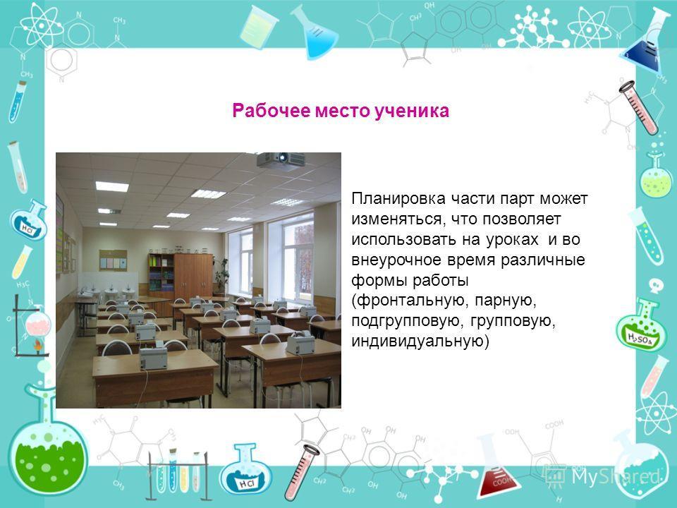 Рабочее место ученика Планировка части парт может изменяться, что позволяет использовать на уроках и во внеурочное время различные формы работы (фронтальную, парную, подгрупповую, групповую, индивидуальную)