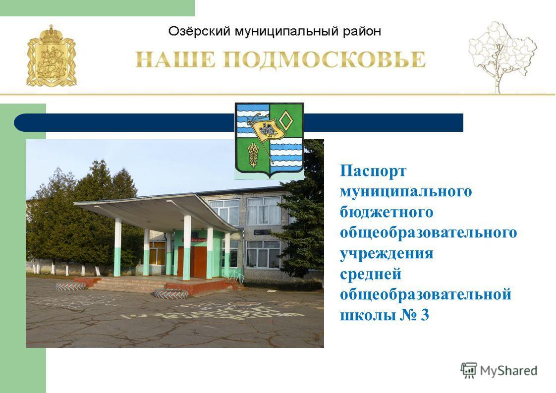 Паспорт муниципального бюджетного общеобразовательного учреждения средней общеобразовательной школы 3