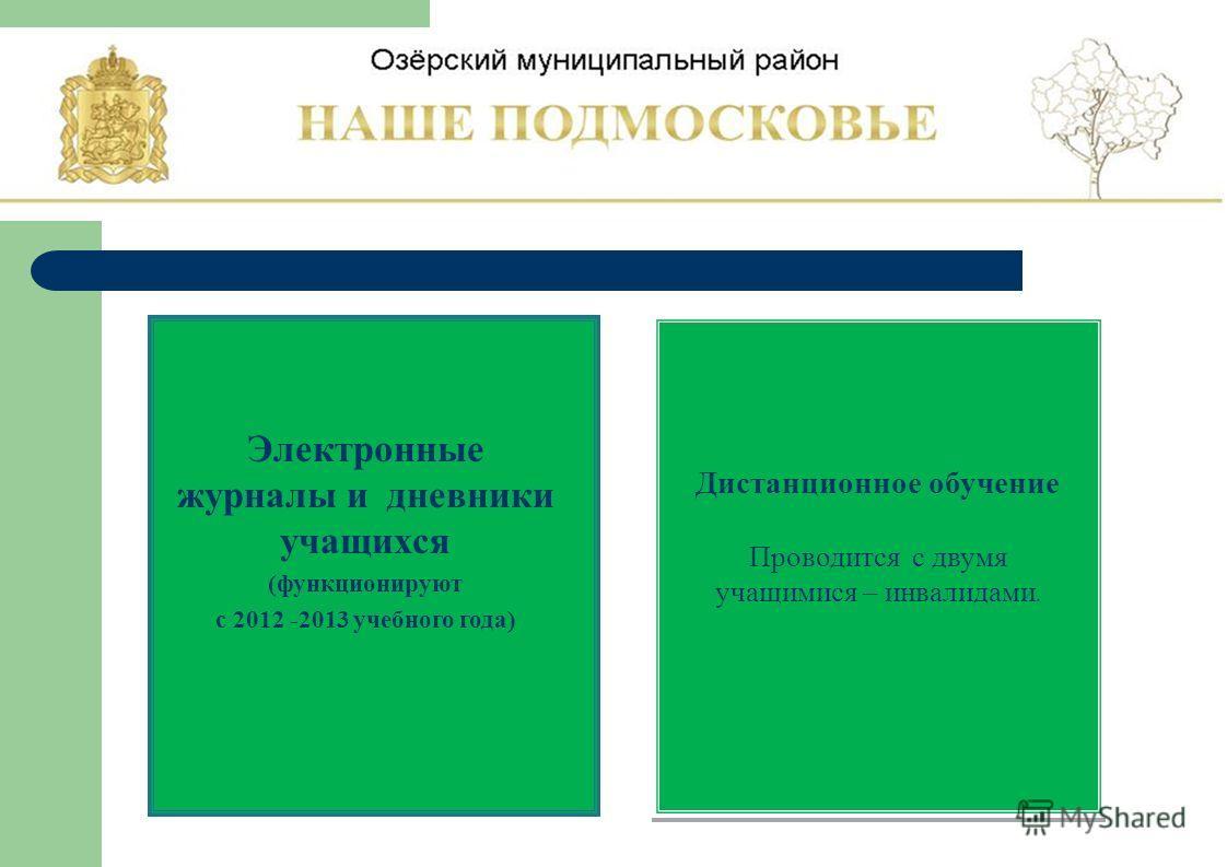 Электронные журналы и дневники учащихся (функционируют с 2012 -2013 учебного года) Дистанционное обучение Проводится с двумя учащимися – инвалидами.