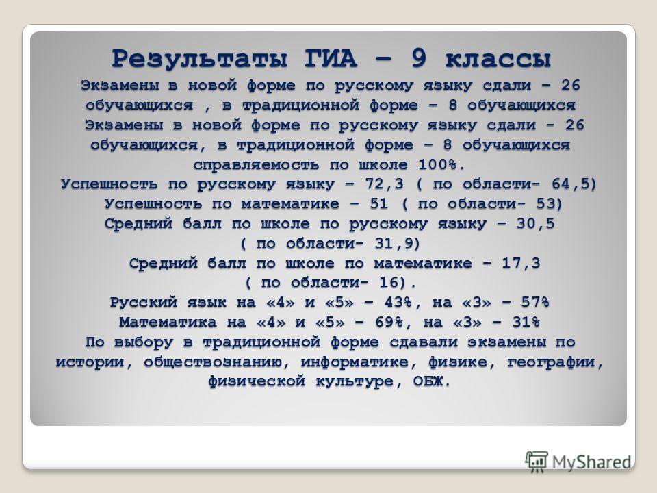 Результаты ГИА – 9 классы Экзамены в новой форме по русскому языку сдали – 26 обучающихся, в традиционной форме – 8 обучающихся Экзамены в новой форме по русскому языку сдали - 26 обучающихся, в традиционной форме – 8 обучающихся справляемость по шко