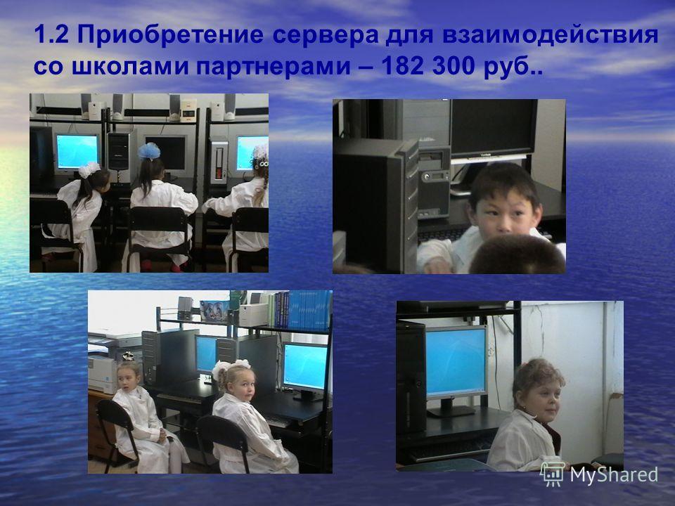 1.2 Приобретение сервера для взаимодействия со школами партнерами – 182 300 руб..