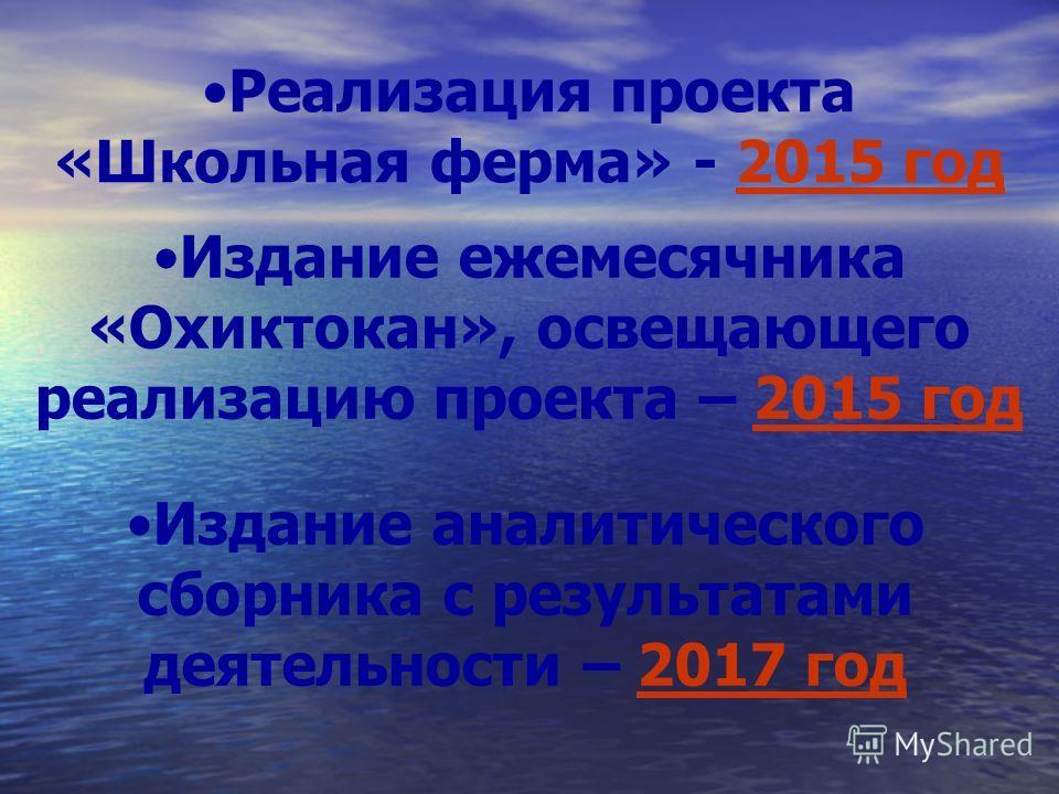 Реализация проекта «Школьная ферма» - 2015 год Издание ежемесячника «Охиктокан», освещающего реализацию проекта – 2015 год Издание аналитического сборника с результатами деятельности – 2017 год