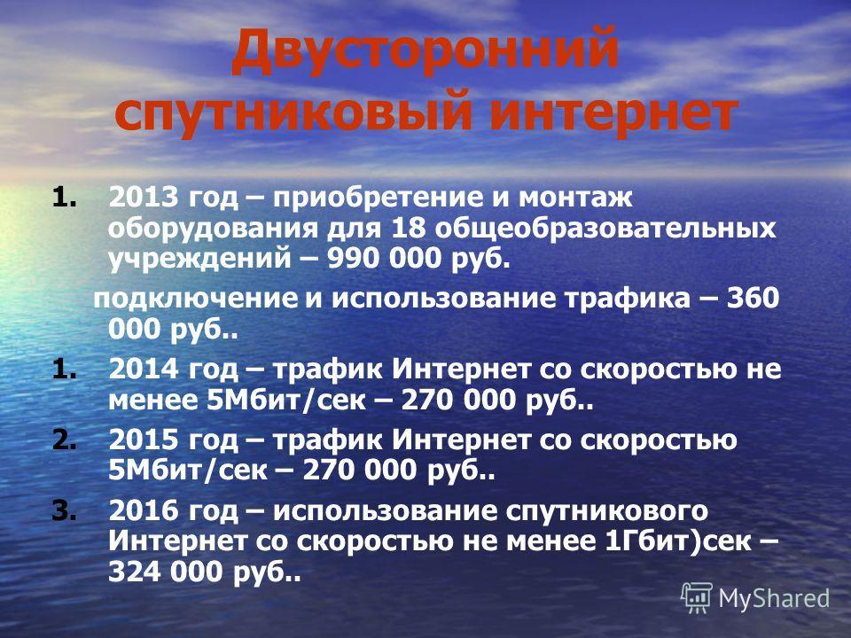 Двусторонний спутниковый интернет 1.2013 год – приобретение и монтаж оборудования для 18 общеобразовательных учреждений – 990 000 руб. подключение и использование трафика – 360 000 руб.. 1.2014 год – трафик Интернет со скоростью не менее 5Мбит/сек –