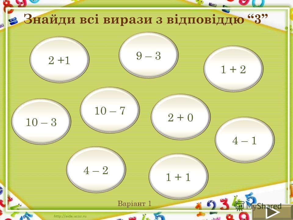 1 + 2 2 + 0 2 +1 10 – 3 4 – 2 9 – 3 4 – 1 1 + 1 10 – 7 Знайди всі вирази з відповіддю 3 Варіант 1