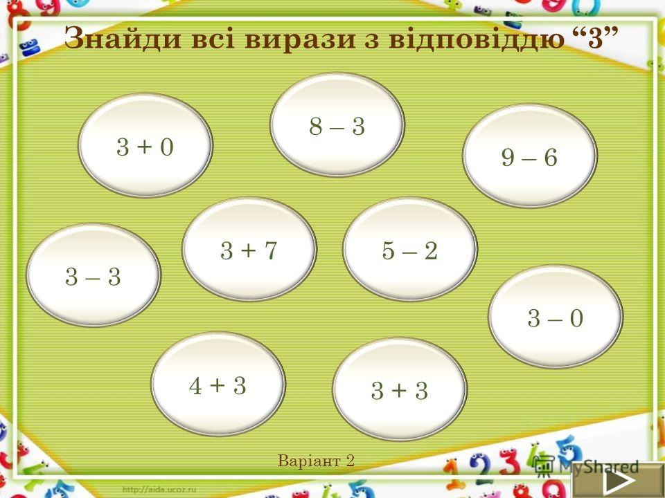 9 – 6 3 + 0 5 – 2 3 – 3 4 + 3 8 – 3 3 – 0 3 + 3 3 + 7 Знайди всі вирази з відповіддю 3 Варіант 2