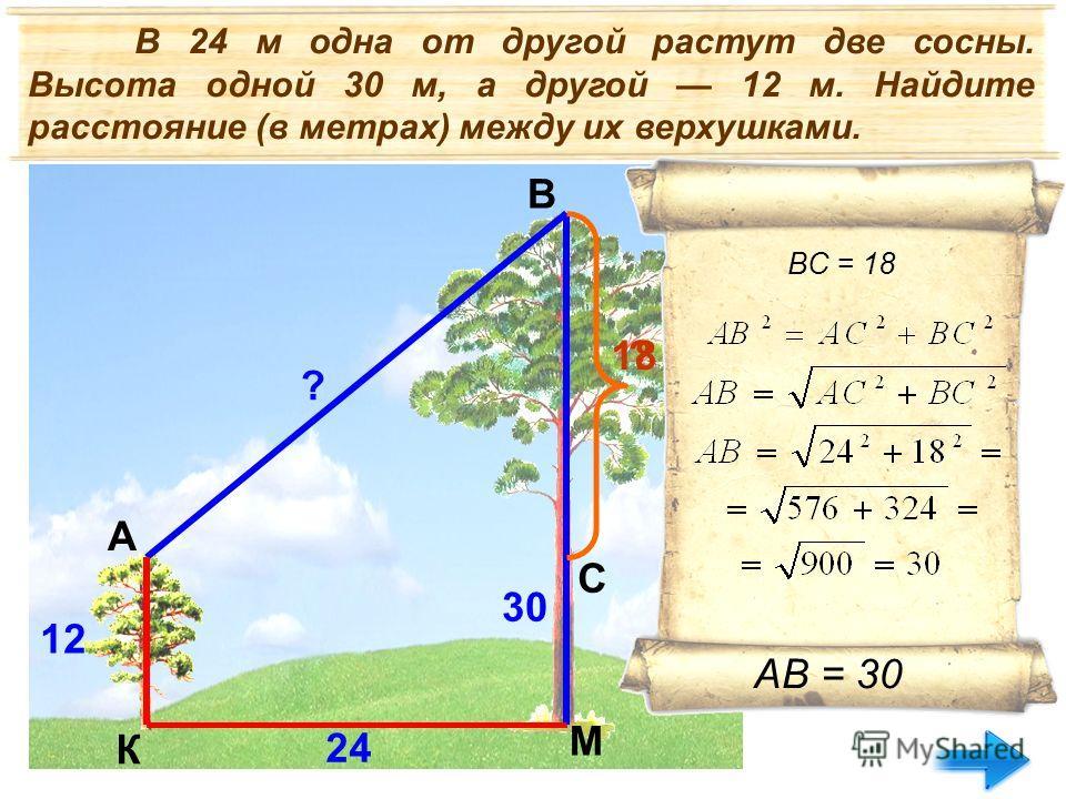 В 24 м одна от другой растут две сосны. Высота одной 30 м, а другой 12 м. Найдите расстояние (в метрах) между их верхушками. 24 30 12 ? ? A B C К М 18 ВC = 18 АВ = 30