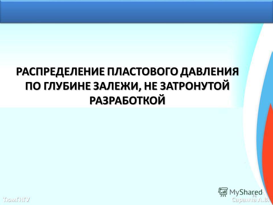 РАСПРЕДЕЛЕНИЕ ПЛАСТОВОГО ДАВЛЕНИЯ ПО ГЛУБИНЕ ЗАЛЕЖИ, НЕ ЗАТРОНУТОЙ РАЗРАБОТКОЙ ТюмГНГУ Саранча А.В. 31