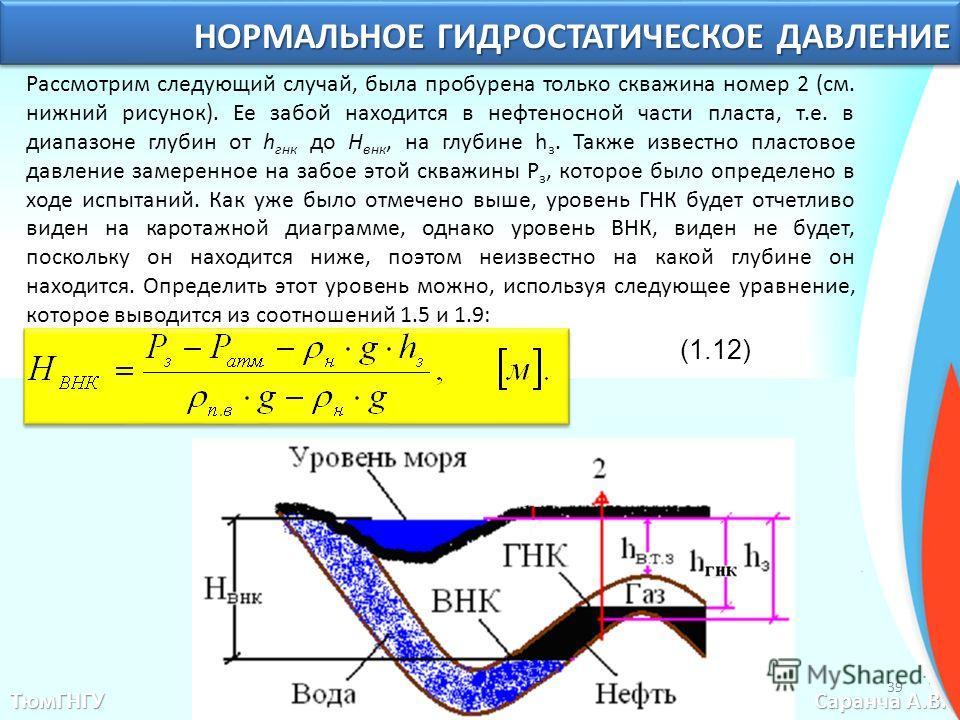 Рассмотрим следующий случай, была пробурена только скважина номер 2 (см. нижний рисунок). Ее забой находится в нефтеносной части пласта, т.е. в диапазоне глубин от h гнк до H внк, на глубине h з. Также известно пластовое давление замеренное на забое