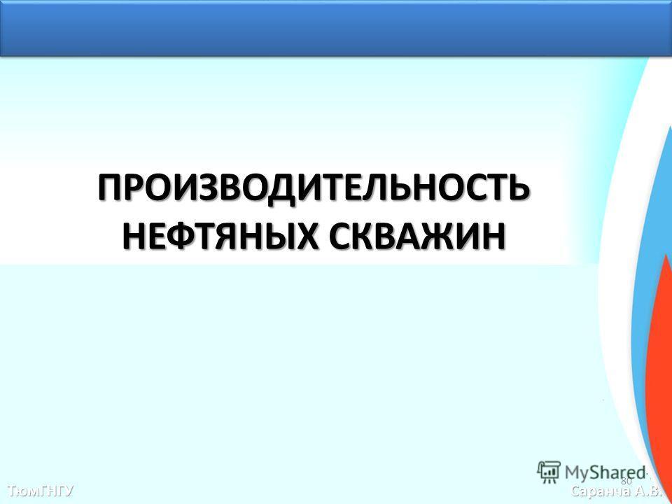 ПРОИЗВОДИТЕЛЬНОСТЬ НЕФТЯНЫХ СКВАЖИН ТюмГНГУ Саранча А.В. 80