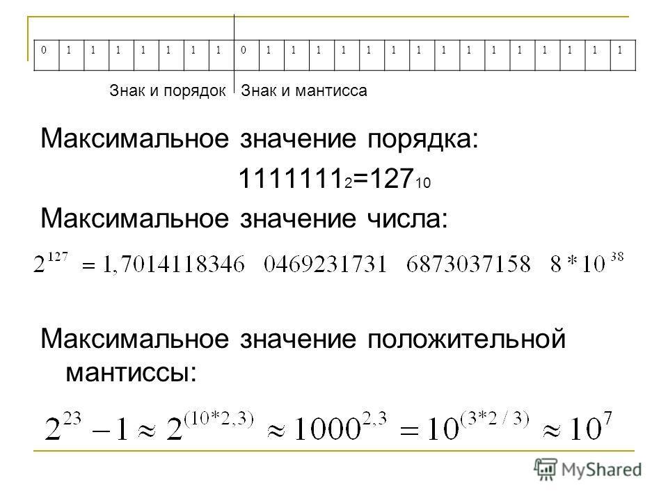 Максимальное значение порядка: 1111111 2 =127 10 Максимальное значение числа: Максимальное значение положительной мантиссы: 011111110111111111111111 Знак и порядок Знак и мантисса