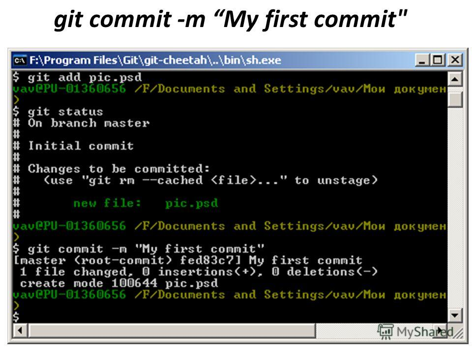 git commit -m My first commit