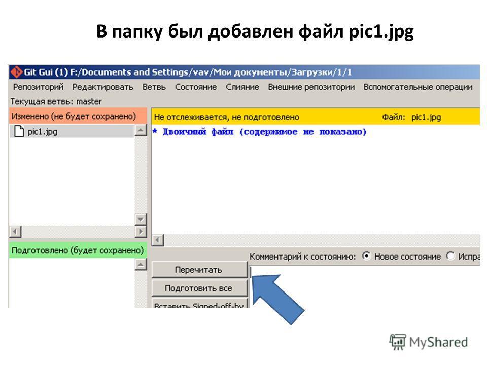 В папку был добавлен файл pic1.jpg