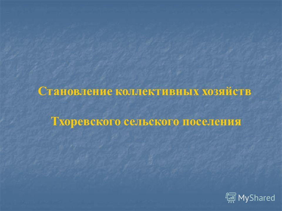 Становление коллективных хозяйств Тхоревского сельского поселения