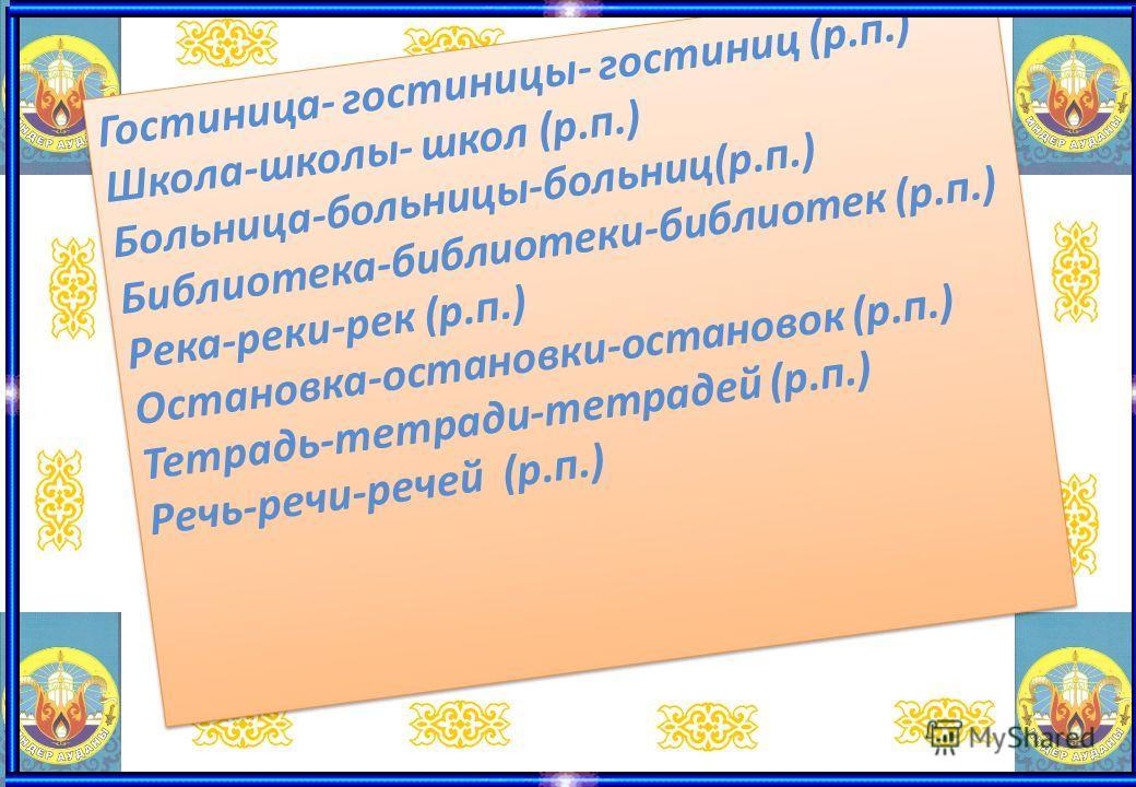 Гостиница- гостиницы- гостиниц (р.п.) Школа-школы- школ (р.п.) Больница-больницы-больниц(р.п.) Библиотека-библиотеки-библиотек (р.п.) Река-реки-рек (р.п.) Остановка-остановки-остановок (р.п.) Тетрадь-тетради-тетрадей (р.п.) Речь-речи-речей (р.п.) Гос