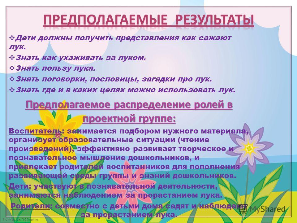 FokinaLida.75@mail.ru Дети должны получить представления как сажают лук. Знать как ухаживать за луком. Знать пользу лука. Знать поговорки, пословицы, загадки про лук. Знать где и в каких целях можно использовать лук. Предполагаемое распределение роле