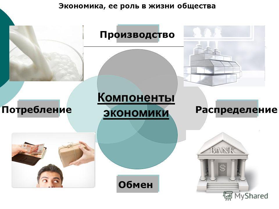 Производство Распределение Обмен Потребление Экономика, ее роль в жизни общества Компоненты экономики