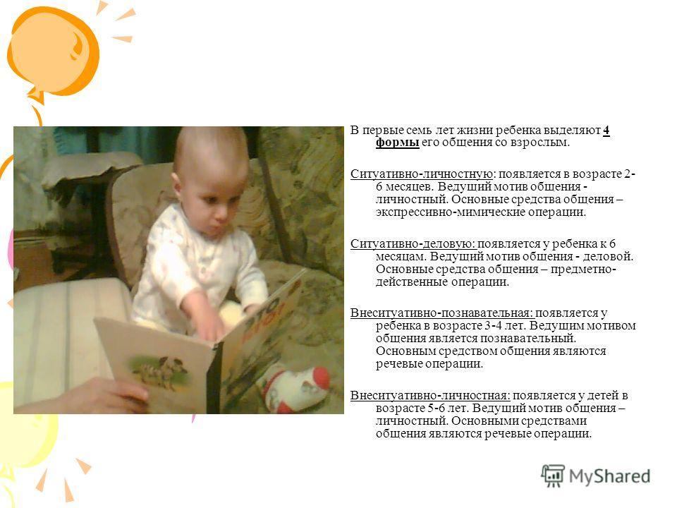 В первые семь лет жизни ребенка выделяют 4 формы его общения со взрослым. Ситуативно-личностную: появляется в возрасте 2- 6 месяцев. Ведущий мотив общения - личностный. Основные средства общения – экспрессивно-мимические операции. Ситуативно-деловую:
