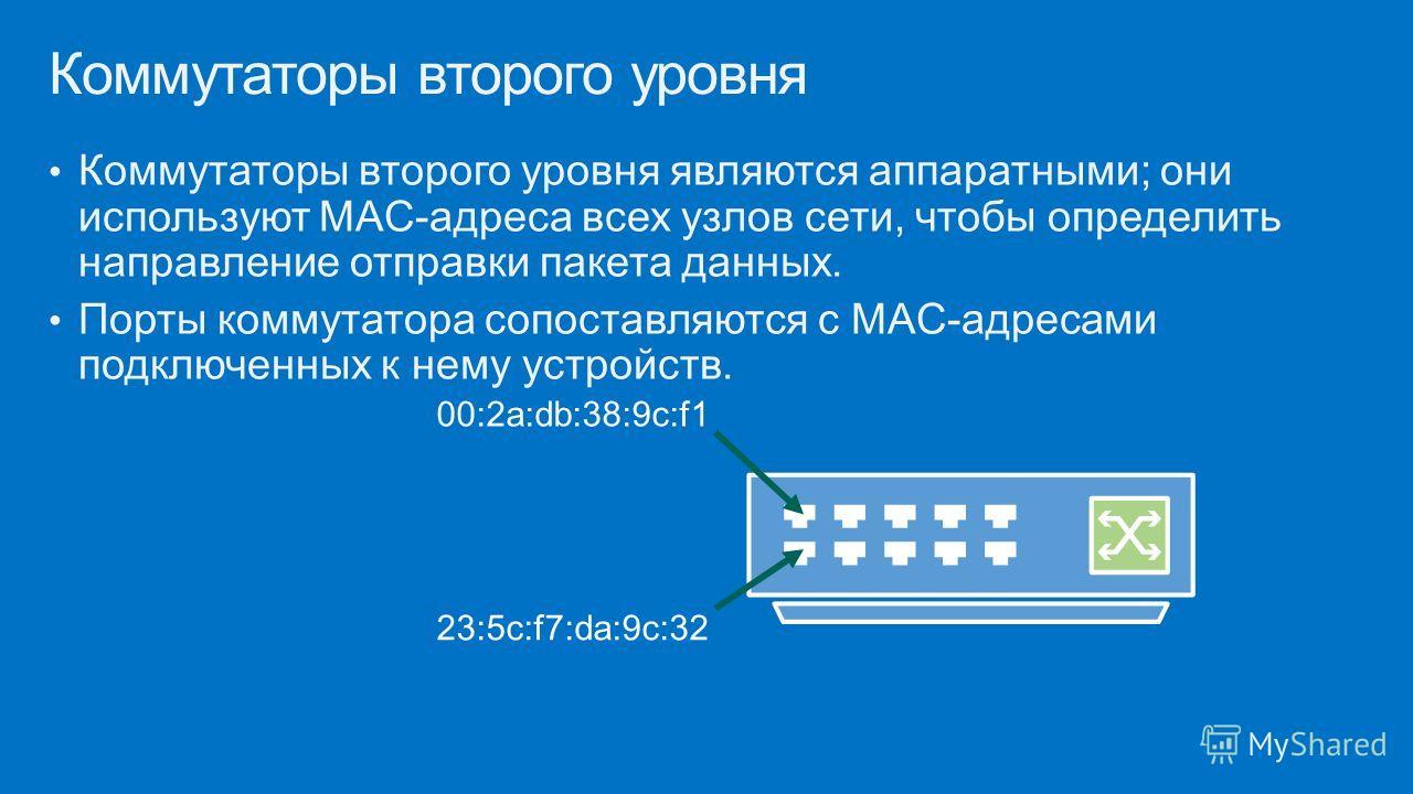 Коммутаторы второго уровня являются аппаратными; они используют MAC-адреса всех узлов сети, чтобы определить направление отправки пакета данных. Порты коммутатора сопоставляются с MAC-адресами подключенных к нему устройств. Коммутаторы второго уровня