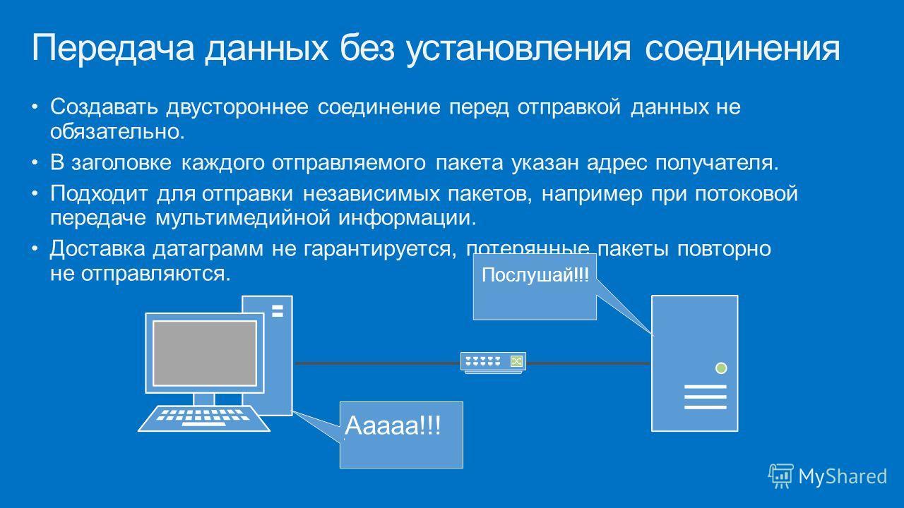 Создавать двустороннее соединение перед отправкой данных не обязательно. В заголовке каждого отправляемого пакета указан адрес получателя. Подходит для отправки независимых пакетов, например при потоковой передаче мультимедийной информации. Доставка