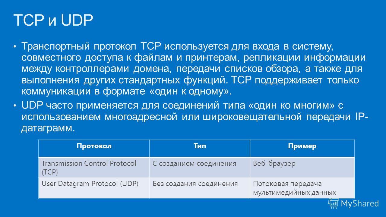 Транспортный протокол TCP используется для входа в систему, совместного доступа к файлам и принтерам, репликации информации между контроллерами домена, передачи списков обзора, а также для выполнения других стандартных функций. TCP поддерживает тольк
