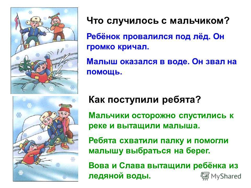 Что случилось с мальчиком? Ребёнок провалился под лёд. Он громко кричал. Малыш оказался в воде. Он звал на помощь. Как поступили ребята? Мальчики осторожно спустились к реке и вытащили малыша. Ребята схватили палку и помогли малышу выбраться на берег