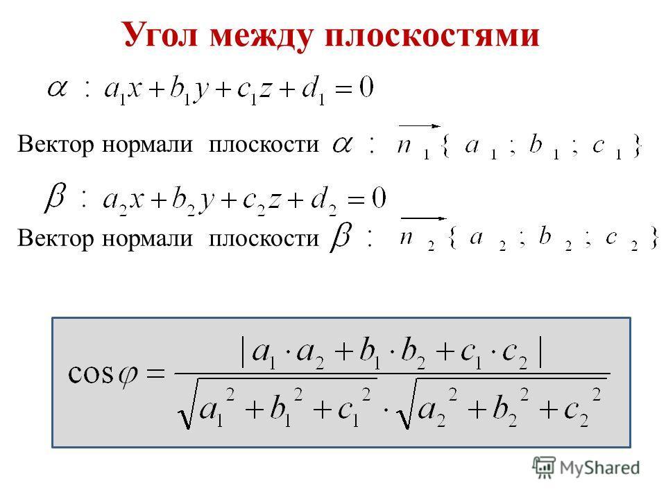Угол между плоскостями Вектор нормали плоскости