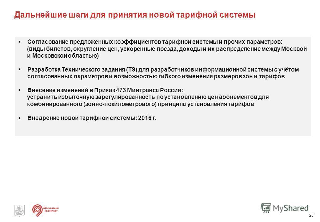 Дальнейшие шаги для принятия новой тарифной системы 23 Согласование предложенных коэффициентов тарифной системы и прочих параметров: (виды билетов, округление цен, ускоренные поезда, доходы и их распределение между Москвой и Московской областью) Разр